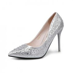 Silver Rhinestones Pointed Toe Stiletto Heels Wedding Shoes For Bride - TheCelebrityDresses
