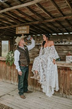country wedding dress Epic Canadian Country Farm Wedding - Janine Deanna Photography - Alberta, Canada ranch wedding with cowboy hats, a saloon amp; boho off-the-shoulder Rue de Seine dress Country Wedding Dresses, Bridal Dresses, Bridesmaid Dresses, Country Weddings, Ranch Weddings, Country Wedding Groomsmen, Country Wedding Photos, Country Style Wedding, Western Dresses
