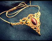 Macrame tiara and necklace with Red Tiger Eye * Intuitive Jewelry * Goddess Tiara *