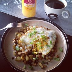 rosemary chipotle breakfast potatoes with a fried egg