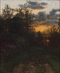 """Sunset,"" John Joseph Enneking, oil on canvas, 12 x 10"", private collection."