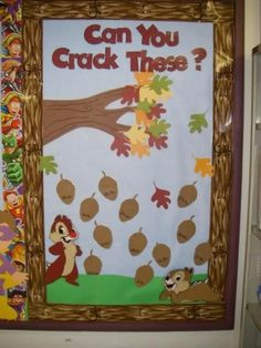 A unique idea for a math bulletin board display for autumn. Students can help the squirrels solve (crack!) the math equations written inside these nuts. Disney Bulletin Boards, November Bulletin Boards, Halloween Bulletin Boards, Interactive Bulletin Boards, Preschool Bulletin Boards, Bulletin Board Display, Classroom Bulletin Boards, Classroom Door, Classroom Ideas