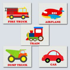 Transportation Wall Art Transportation Nursery by SweetBloomsDecor
