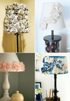 Cool Lamp Shade Ideas - love the idea of getting fake flowers/making them and gluing to the lampshade. so pretty Lamp Shade Ideas - love the idea of getting fake flowers/making them and gluing to the lampshade. so pretty! Cool Lamps, Unique Lamps, Modern Lamps, Sofa Green, Lamp Shade Crafts, Rustic Lamp Shades, Shabby Chic Lamps, Ceiling Lamp Shades, Lampshades