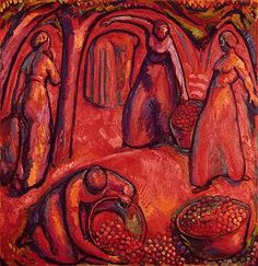 Amiet, Cuno (1868-1961) - 1912 Fruit Harvest I  Oil on Canvas; 126 x 121 cm  Cuno Amiet was a Swiss painter, illustrator, graphic artist and sculptor. As the first Swiss painter to give precedence to color in composition, he was a pioneer of modern art in Switzerland.