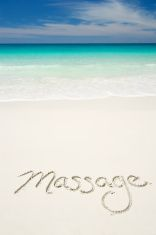 Massage Message on Smooth Tropical Beach stock photo