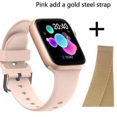 Smart Watch Waterproof Fitness Tracker - Pink add gold steel / France