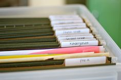 How to organize Kids' school papers! Love this! 1. ALL awards, certificates, and those types of things. 2. Report cards 3. A sample of work from the beginning of the year and from the end.                                                                                                                                                                                 More