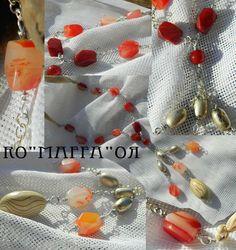 Collana in alluminio, agata e perle di legno ed argento