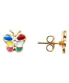 Love this Gold & Rainbow Butterfly Stud Earrings by Sweet & Soft on #zulily! #zulilyfinds