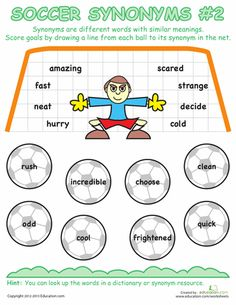 Worksheets: Soccer Synonyms #2