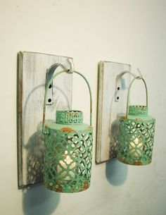 Hey, I found this really awesome Etsy listing at https://www.etsy.com/listing/224969474/shabby-chic-turquoise-lantern-pair-on