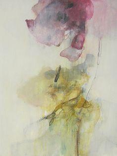 """Myong Stebbins Yeonkkoch I mixed media on paper 24"""" x 20"""" framed Berkeley, CA"""