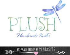 Watercolor Dragonfly Logo Design - Plush-  Custom Premade Logos for Business Cards Stationary Print Boho Rustic Watercolor Floral Designs