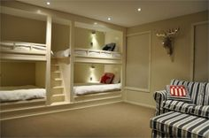 Built in bunk beds, perfect for a guest bedrooms, or really perfect for sleepovers. Gotta do this!!!!