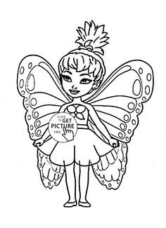Cute Little Fairy coloring page for kids, for girls coloring pages printables free - Wuppsy.com