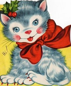 kitten Christmas card!...* 1500 free paper dolls including Christmas dolls international artist and author Arielle Gabriel's The International Paper Doll Society for my Pinterest paper doll pals *
