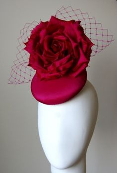 Fuschia pink silk rose button hat - A Day At The Races Collection | Esther Louise Millinery