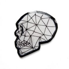 Be stylishly festive this Halloween. Punk Goth Horror lapel pin. Geometric Skull Fashion Accessory for Men and Women