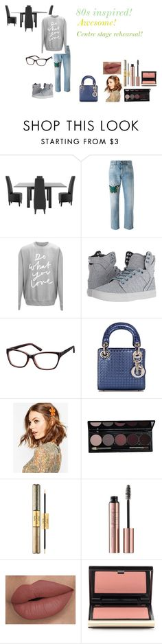 """For Sarah (sister-in-law) - Sarah's ideal wardrobe by me: 80s!"" by sarah-m-smith ❤ liked on Polyvore featuring Gucci, Supra, Christian Dior, ASOS, tarte and Kevyn Aucoin"