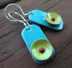 turquoise and lime combo - enamels