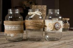 Mason Jar Wraps Set of 3 Wedding Decor Burlap and Lace
