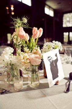 Pink and White Spring Centerpieces Wedding Idea i like thAT ITA SIMPLE BUT PRITTY