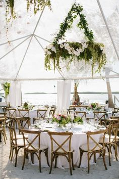 30 Greenery Wedding Ideas That Are Actually Gorgeous---diy wedding reception decorations with hanging greenery chandelier tent weddings greenhouse weddings Casual Elegant Island Wedding in the Florida Keys Beach Wedding Reception, Marquee Wedding, Tent Wedding, Wedding Reception Decorations, Wedding Table, Dream Wedding, Wedding Receptions, Garden Wedding, Reception Ideas
