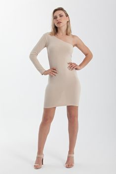 One shoulder jersey bodycon mini dress with one long sleeve Nude Party Dresses, Beige Dresses, Tight Dresses, Dress Party, Nude Dress, Office Looks, Fashion Design, Fashion Tips, High Neck Dress