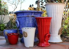 The pottery may be Italian but the spirit is All-American. Celebrate the 4th with these beautiful handmand garden planters. Stephen Frank Laguna Beach