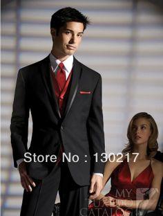 men's black and red tuxedo for wedding   Color Black Suit Red Vest Groom Tuxedos Best Man Groomsmen Men Wedding ...
