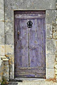 Lavender door in Provence. It always amazes me that doors like this are all over Europe. - A lavender doo in Provence where so much lavender is grown. Cool Doors, The Doors, Unique Doors, Windows And Doors, Front Doors, Purple Door, Purple Gray, Soft Purple, Periwinkle