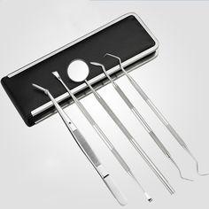 5 Pcs/Set Dentist Tool Stainless Steel Teeth Clean Tweezer Scraper Scaler Mirror Dental Probe Dental Hygiene Oral Care F #Affiliate