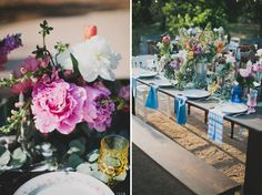 Indigo napkins. Ranch Bohemian Red Tail wedding inspiration. Vintage-inspired lounges + eclectic, southwestern-styled tablescapes. Photography: Katie Pritchard. Location: private residence in Ojai, California.