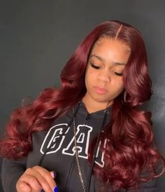 Thriving Hair Glueless Brazilian Virgin Human Hair Burgundy Red Loose Wave Lace Front Wigs for Women Burgundy Hair Black Girl, Dark Red Hair, Bright Red Hair, Brown Hair, Black Hair, Red Weave Hairstyles, Baddie Hairstyles, Weave Hair Color, Red Hair Color