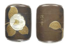 A silver lacquer small three-case inro By Shoryusai Kogyoku, after a design by Sakai Hoitsu, 19th century Bearing a rogin-nuri ground, lacquered and inlaid with a camellia bloom and foliage, in gold takamakie and raden, inscribed Hoitsu hitsu with seal Monsen, the interior of matt gold lacquer, signed Shoryusai. 7cm (2¾in).