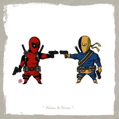 deadpool and deathstroke Marvel vs. DC: Little Friends by Darren Rawlings. Now this would be an epic fight Marvel Vs, Marvel Dc Comics, Mundo Marvel, Comic Book Characters, Comic Character, Comic Books Art, Comic Art, Deadpool Deathstroke, Crossover