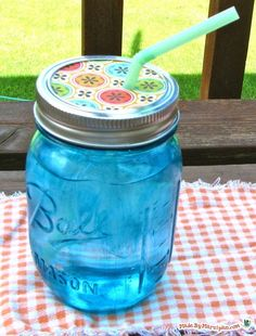 A method of staining glass that's waterproof, dishwasher safe, and non-toxic! But, I like the straw idea...we just started using mason jars as our drinking glasses and love it!