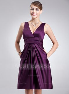 Bridesmaid Dresses - $79.99 - A-Line/Princess V-neck Knee-Length Satin Bridesmaid Dress With Ruffle (007004302) http://jjshouse.com/A-Line-Princess-V-Neck-Knee-Length-Satin-Bridesmaid-Dress-With-Ruffle-007004302-g4302
