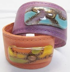 Leather and fused glass hard cuffs  Bracelets by CarliBruno, $45.00