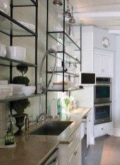 iCreative Tonic loves kitchen shelves + kitchen inspiration - Love the aged metal and glass shelves, white cabinets, and white dinnerware in this vintage modern kitchen design. Glass Shelves Kitchen, Glass Kitchen, New Kitchen, Metal Kitchen Cabinets, Kitchen Backsplash, Kitchen Bookshelf, Glass Wall Shelves, Room Shelves, Glass Bathroom