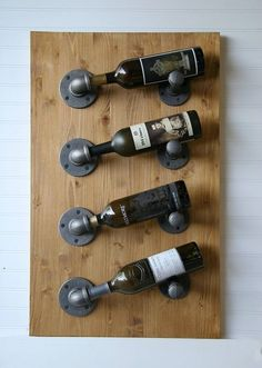 4 bottle industrial rustic pipe wood wall wine rack in 2018 inside plan 14 Kitchen Wall Shelves, Wine Shelves, Wall Shelf Decor, Bench Decor, Wine Storage, Glass Shelves, Wine Wall Decor, Storage Racks, Pot Racks