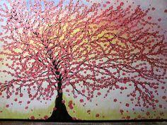 """Acrylmalerei - Acrylbild """"Er-blühen"""" - Unikat- rosa-Kirschblüte - ein Designerstück von BRI-Anderswelt bei DaWanda Artwork, Pink, Saving Money Jars, Abstract, Repurpose, Gifts, Work Of Art, Auguste Rodin Artwork, Artworks"""