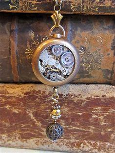 Steampunk necklace - Time Once more - Steampunk watch elements - Repurposed Artwork...