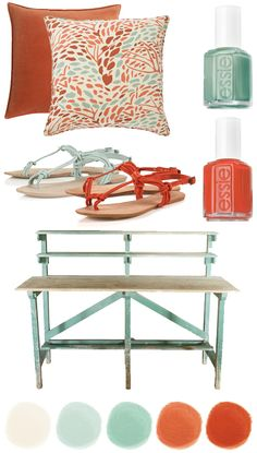 Color Crush: Coral + Vintage Green - Home - Creature Comforts - daily inspiration, style, diy projects + freebies