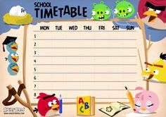 A homework timetable is perfect for keeping on top of homework. We love this angry birds one which you can print off!