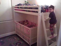 Toddler/crib bunk bed so freakin cool