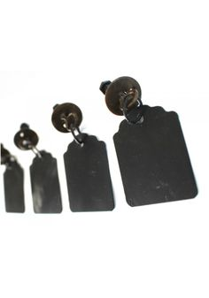hanging tag cabinet hardware, metal hanging tag pulls, rustic tab pullOld Fashioned Drawer Pulls Hanging Tags Chalkboard Metal Antique Replica - Country Rustic Style Set of 4 pcs Hanging Tag PullsHard to Find fun hardware pieces found here at The Kings