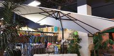 cantilever umbrella in Frequency Parchment fabric. Colorful Umbrellas, Patio Umbrellas, Cantilever Umbrella, Garden Spaces, Hacks Diy, Fire, Outdoor Decor, Fabric, Design