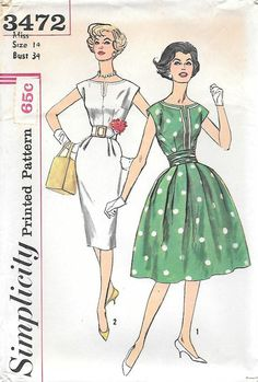 Simplicity 3472 UNCUT 1960s Dress with Two Skirts Vintage Sewing Pattern,  by GrandmaMadeWithLove